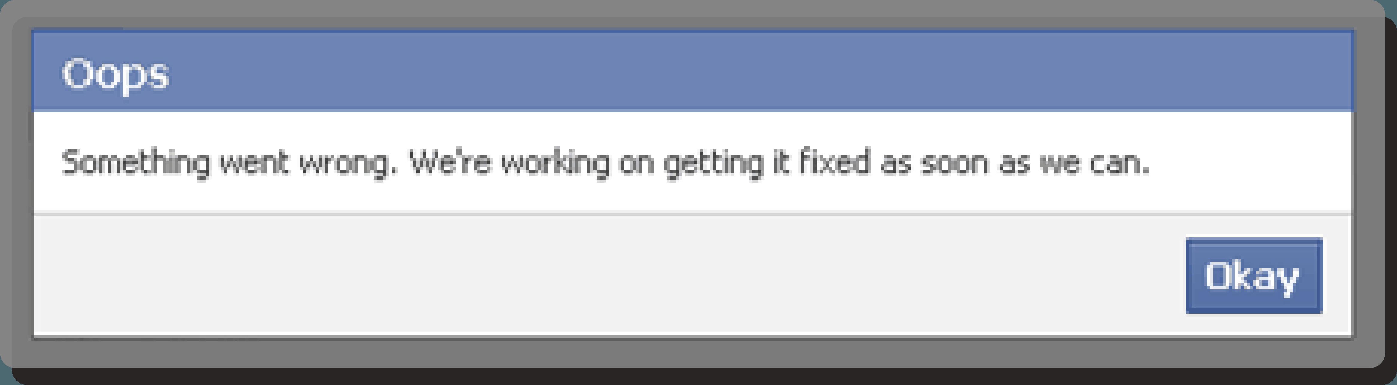 Facebook feilmelding: Oops something went wrong