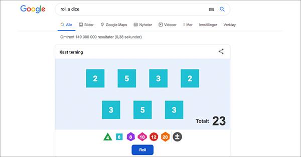 Google roll a dice