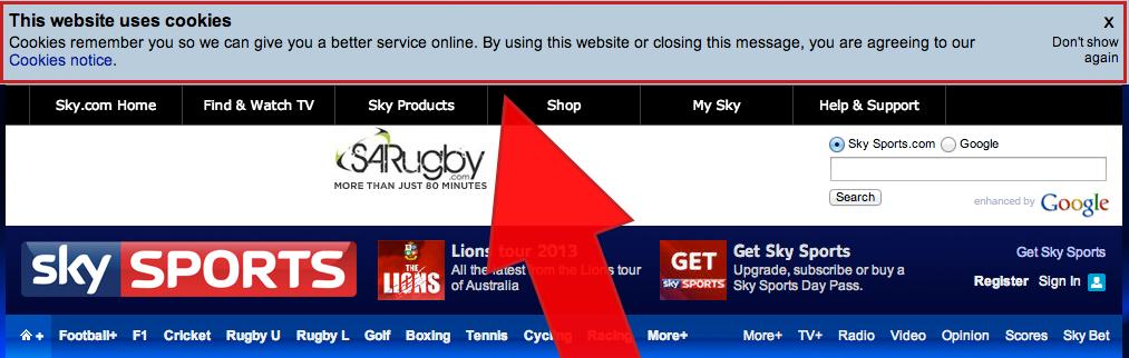 Skysports.com har en stor advarsel på sine nettsider som er tilnærmet umulig å gå glipp av.